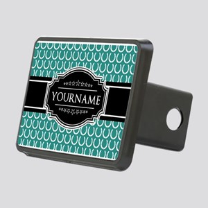Teal and Black Horseshoe P Rectangular Hitch Cover