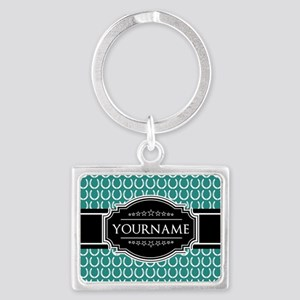 Teal and Black Horseshoe Person Landscape Keychain