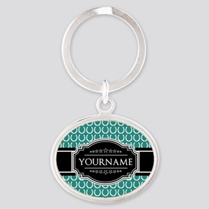 Teal and Black Horseshoe Personalize Oval Keychain