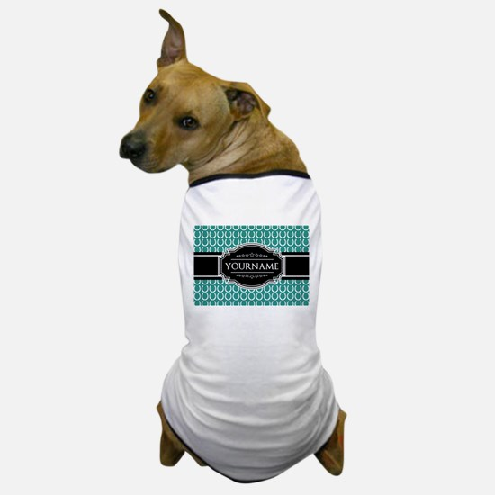 Teal and Black Horseshoe Personalized Dog T-Shirt