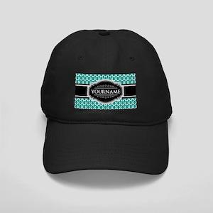 Teal and Black Horseshoe Personalized Na Black Cap