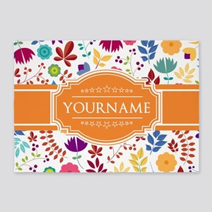 Personalized Name Monogram Floral 5'x7'Area Rug