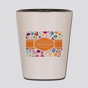 Personalized Name Monogram Floral Shot Glass