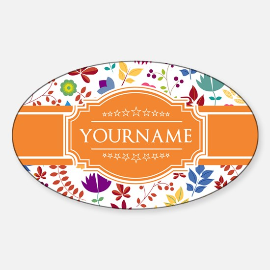 Personalized Name Monogram Floral Sticker (Oval)