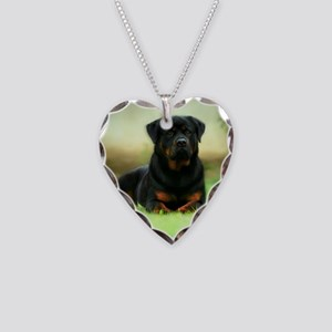 Rottweiler Necklace Heart Charm