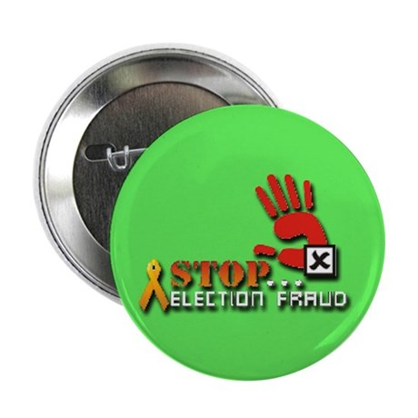 """Red Hand Stop Election Fraud Lime 2.25"""" Button"""