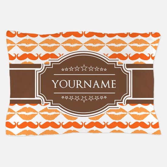 Personalized Name Mustache Pillow Case