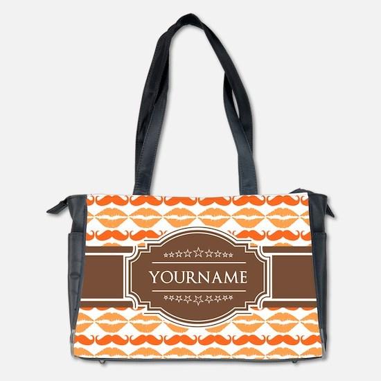 Personalized Name Mustache Diaper Bag