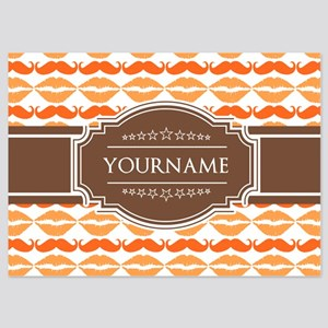 Personalized Name Mustache 5x7 Flat Cards