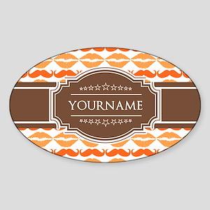 Personalized Name Mustache Sticker (Oval)