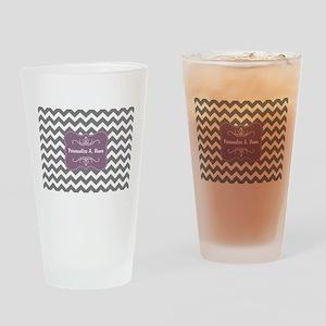 Custom, Patterns, Chevrons, Gray, P Drinking Glass