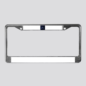 bar sign neon blue party sign License Plate Frame
