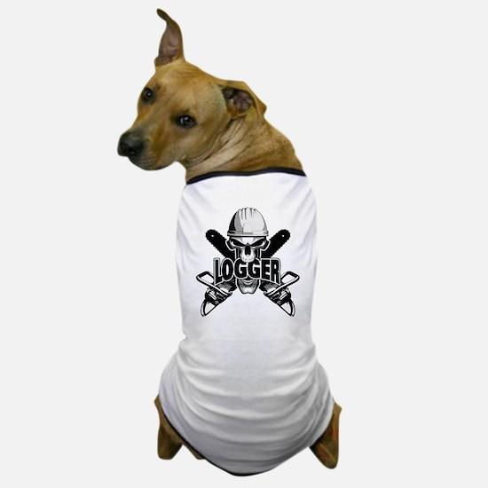Logger Skull: Crossed Chainsaws Dog T-Shirt