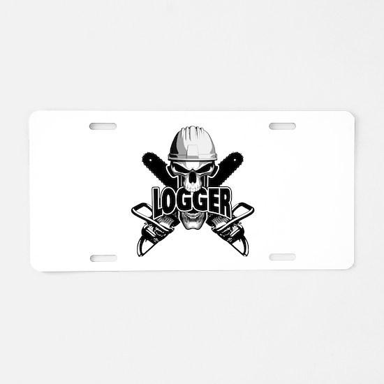 Logger Skull: Crossed Aluminum License Plate