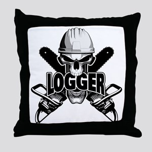 Logger Skull: Crossed Chainsaws Throw Pillow