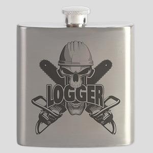 Logger Skull: Crossed Chainsaws Flask