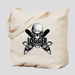 Logger Skull: Crossed Chainsaws Tote Bag