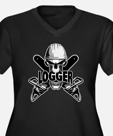 Logger Skull: Crossed Chainsaws Plus Size T-Shirt