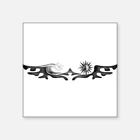 "Unique Tribal surf Square Sticker 3"" x 3"""