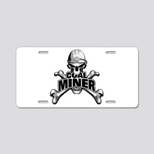 Coal Miner Skull And Aluminum License Plate