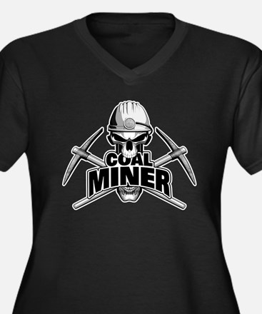 Coal Miner Skull and Crossed Pickaxes Plus Size T-