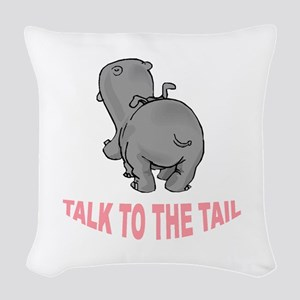 Hippo Talk To The Tail Woven Throw Pillow