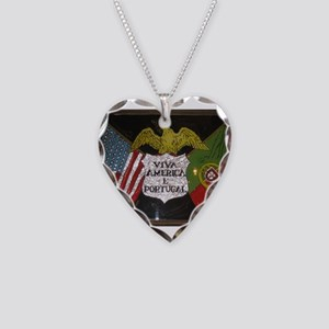 Portugese American Necklace Heart Charm