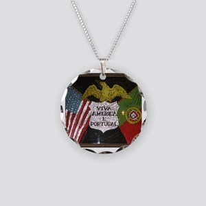 Portugese American Necklace Circle Charm