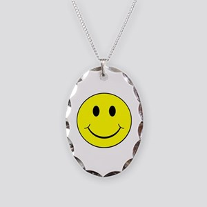 Smiley Face Necklace Oval Charm