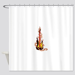 Flaming Guitar Shower Curtain