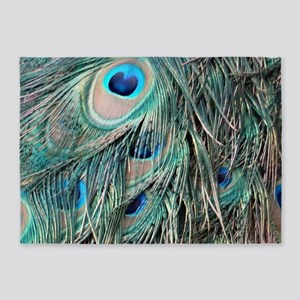 Peafowl Feathers With Big Eyes 5'x7'Area Rug