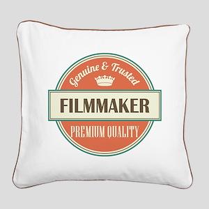 filmmaker vintage logo Square Canvas Pillow