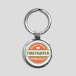 firefighter vintage logo Round Keychain