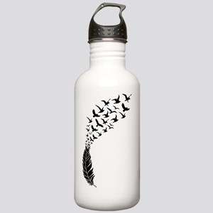 Black feather with bir Stainless Water Bottle 1.0L