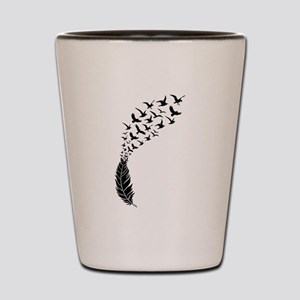 Black feather with birds Shot Glass