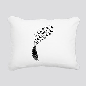 Black feather with birds Rectangular Canvas Pillow