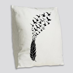 Black feather with birds Burlap Throw Pillow