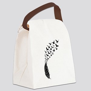 Black feather with birds Canvas Lunch Bag
