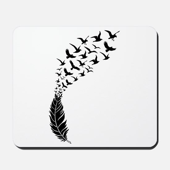Black feather with birds Mousepad