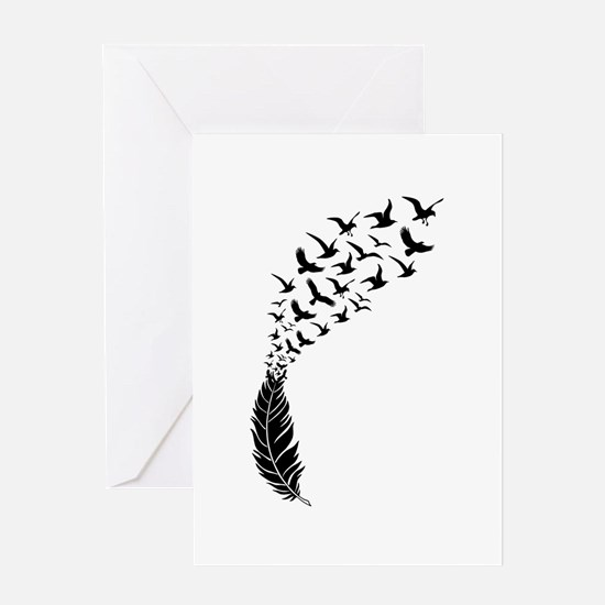 Black feather with birds Greeting Cards
