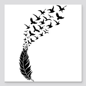 """Black feather with birds Square Car Magnet 3"""" x 3"""""""