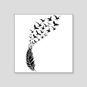 Black feather with birds Sticker