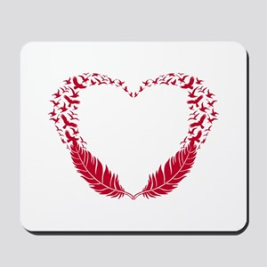 Heart with flying birds Mousepad