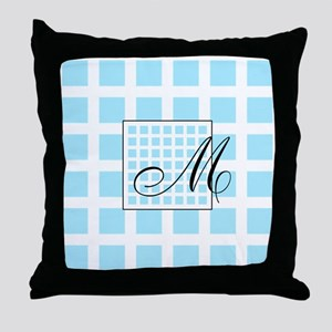 Blue Squares Monogram Throw Pillow