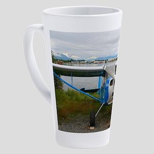 High wing aircraft, blue & whi 17 oz Latte Mug