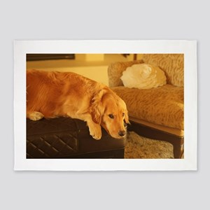 golden retriever relaxin 5'x7'Area Rug