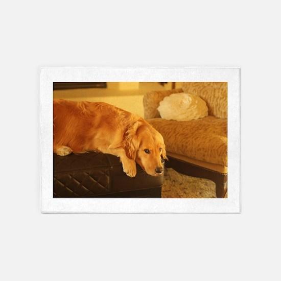 golden retriever relaxin 5'x7'Area Rug