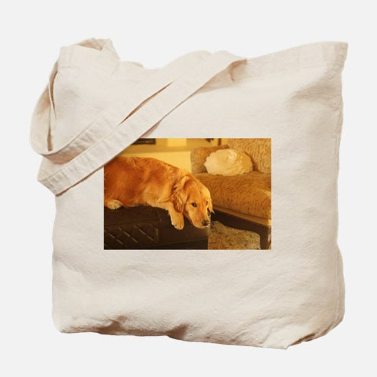 golden retriever relaxin Tote Bag