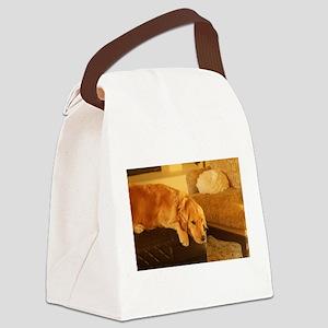 golden retriever relaxin Canvas Lunch Bag