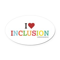 I Heart Inclusion Oval Car Magnet